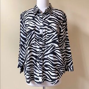 Ralph Lauren Zebra Stripe Animal Print Button Down